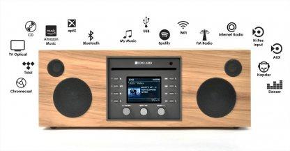 chaine compacte cd radio fm dab+ lecteur reseau spotify tidal deezer qobuz