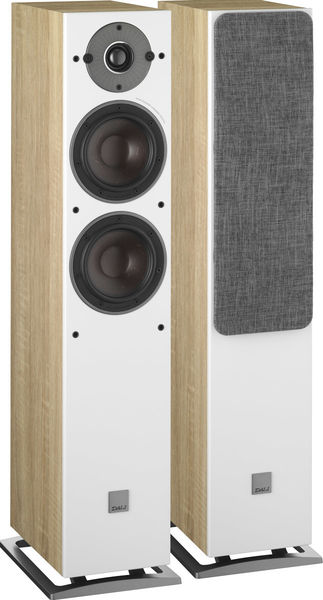Enceintes DALI OBERON 5 enceinte colonne compacte deux voies et demi woofers pulpe papier stereo home cinema bass reflex arriere light walnut