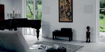 Enceinte Encastrable DALI H80 integrable mur murale plafond plafonnier grille metal à peindre forme carrée deux voies impedance 6 ohms