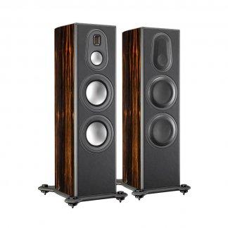 Enceintes Monitor Audio PLATINUM 300 II baffle colonne trois voies quatre HP haut de gamme ebene vernis noir laque ebony varnish black high gloss