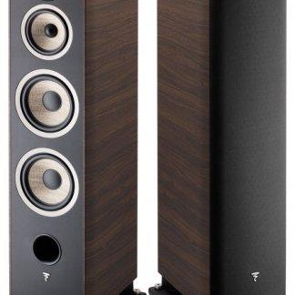 Enceintes FOCAL ARIA 948 grands baffles colonnes trois voies puissant 350 watts bass reflex walnut black noyer noir laque home cinema home-theatre stereo