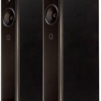 Enceintes Q ACOUSTICS CONCEPT 500 paire baffles colonnes hi end haut de gamme anglaise finition blanc noir laque bicolore laque walnut oak ebene