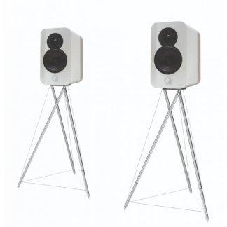 Enceintes Q ACOUSTICS CONCEPT 300 paire de baffles sur pieds design moderne deux couleurs bicolore hi end deux voies laque vernis